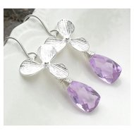 Orchid Lavender Quartz Sterling Earrings