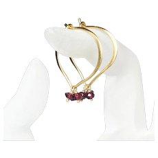Garnet Hoops, Medium Lotus Vermeil Gemstone Earrings
