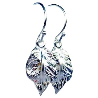 Sterling Silver Leaf Drop Earrings, Fall Accessory