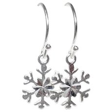 Snowflake Earrings Sterling Silver Petite Charm Drops