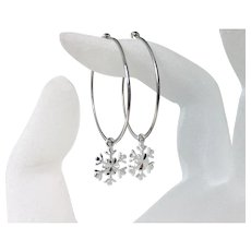 Snowflake Hoop Ear Wires, .925 Sterling Silver Snowflake Charm Hoop Earrings