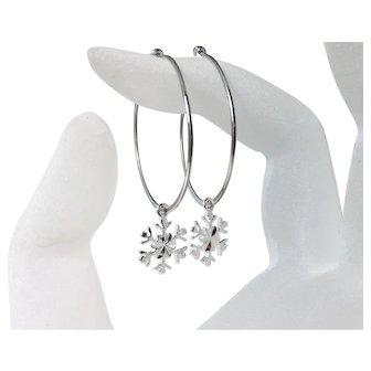 Snowflake Hoop Ear Wires, .925 Sterling Silver Snowflake Charm Hoop Earrings
