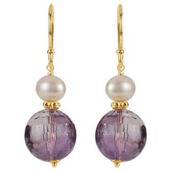 14K Yellow Gold Amethyst Cultured Freshwater Pearl Drop Earrings, February Birthstone