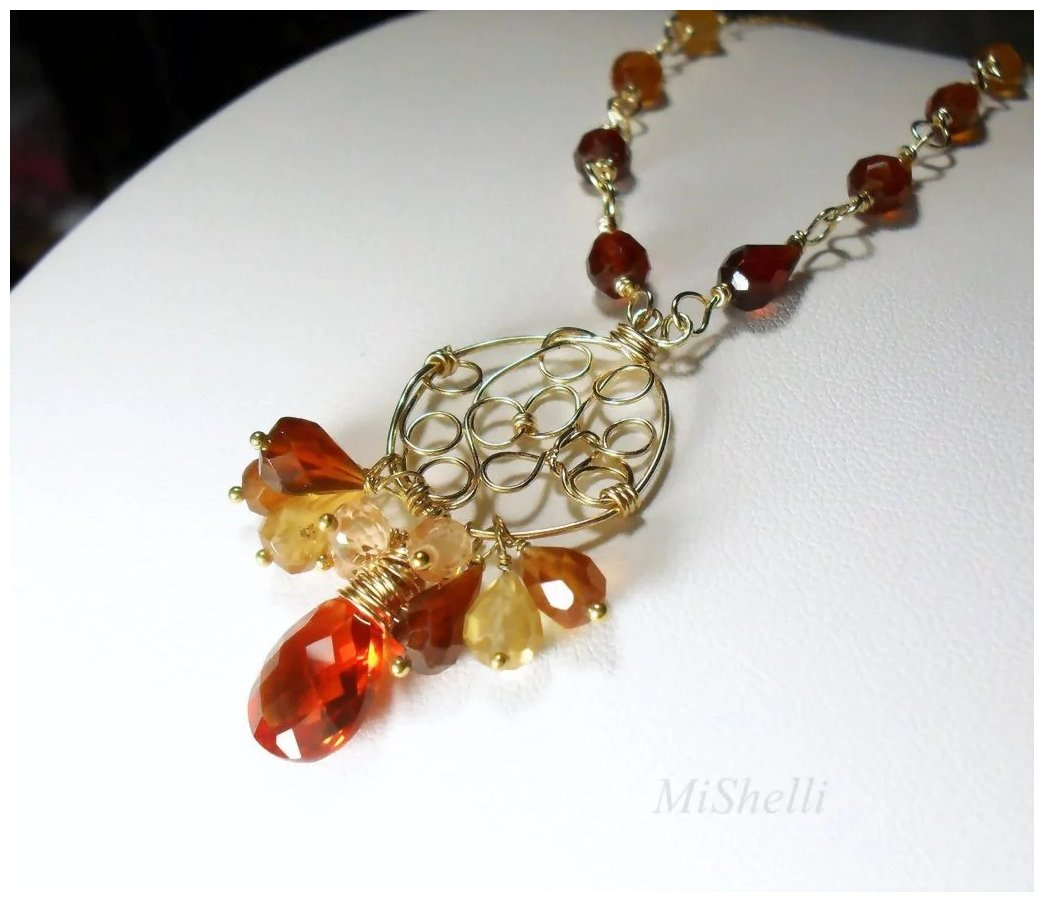 hessonite gemstone wire wrapped gold filled pendant