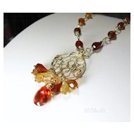 Hessonite Gemstone Wire Wrapped Gold Filled Pendant Necklace