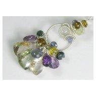 50% OFF Amethyst Quartz Tourmaline Gemstone Sculptured Pendant Necklace