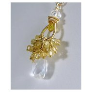 Gemstone Cluster Pendant - Citrine Quartz Gold filled Necklace