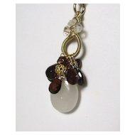 White Jade Hessonite Gemstone 18K Gold filled Necklace