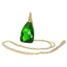 Statement Necklace, Parrot Green Quartz Gold Filled Pendant