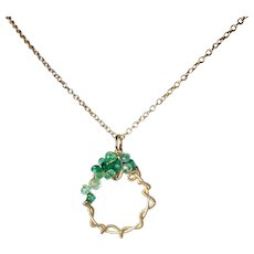 Emerald Necklace, Emerald Gemstone Wire Wrapped Pendant in Gold