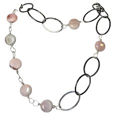 Coin Gemstone Long Sterling Silver Necklace