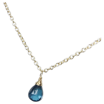 London Blue Topaz Gold Filled Briolette Necklace