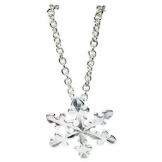 """Dainty Snowflake Charm Necklace Sterling Silver Length 18"""""""