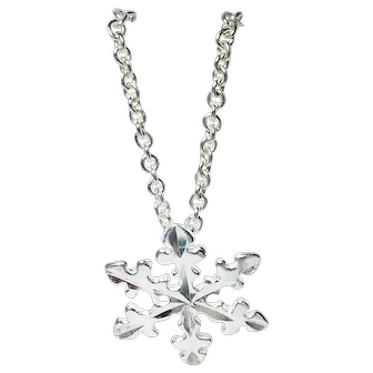 """Snowflake Charm Necklace Sterling Silver 16"""""""