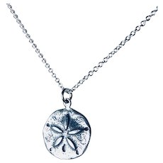 """Sand Dollar Necklace Sterling Silver Length 18"""""""