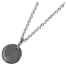Sterling Silver Diamond Disc Necklace, April Birthstone, Tiny, Dainty, .925 Charm Pendant