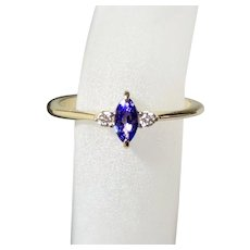 Marquise Tanzanite Diamond 14K Gold Ring, Size 7