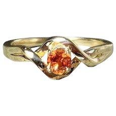 Chatham Padparadscha Sapphire 14K Gold Twist Ring, Size 7