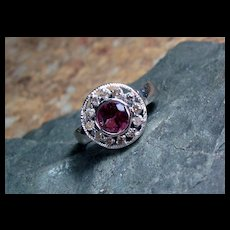 Tourmaline and Diamond Sterling Ring - Size 6