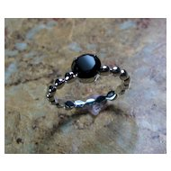 CLEARANCE 25% Off Black Spinel Sterling Silver Prong Set Ring - Size 7