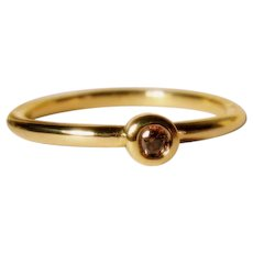 Cognac Diamond 18K Gold Stacking Ring Size 5