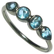 Aquamarine Gemstone Ring, Oxidized Sterling Silver, Size 6