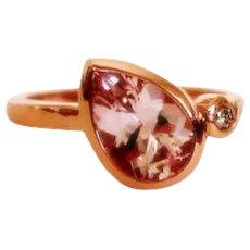 Morganite 9x6mm and Diamond 2mm 14K Rose Gold Gemstone Ring, Size 5