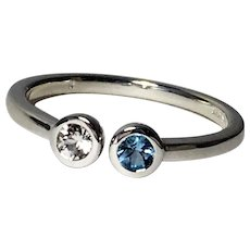 Aquamarine Sapphire Dual Stone Ring, Sterling Silver, Size 6