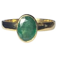 Oval Natural Emerald 14K Gold Ring, Low Profile, Wide Band