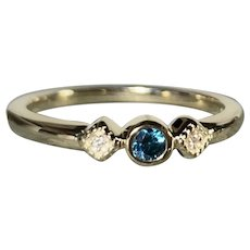 Teal Blue Diamond Anniversary Ring, 14k Yellow Gold, Size 7