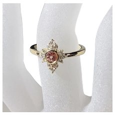 Lab Created Champagne Sapphire 14K Gold Diamond Princess Cluster Ring, Size 7.5