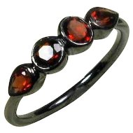 25% OFF Garnet Gemstone Oxidized Sterling Birthstone Band, Size 6.25