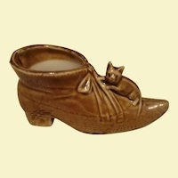 German Porcelain / Pottery Shoe with Cat