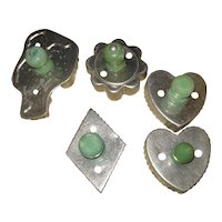 Set of 5 Green Handle Vintage Cookie cutters