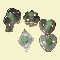 Set of 5 Green Handle Vintage Cookie cutters