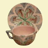 Majolica Etruscan Shell & Seaweed Cup & Saucer