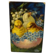 Vintage Easter Postcard  with Chicks