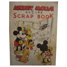 1930's Mickey Mouse Recipe Scrap Book w/14 Cards