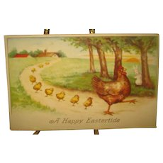 Vintage Easter Post Card with Chickens