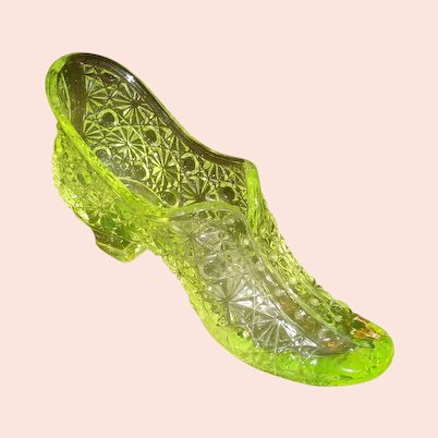 Vaseline Glass Daisy & Button Glass Shoe