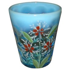Victorian Blue Opalescent Glass Tumbler