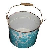Turquoise & White Swirl Enamelware Bucket / Graniteware Pail