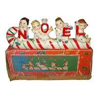 Vintage Christmas Relco Candy Cane Noel Candle Set