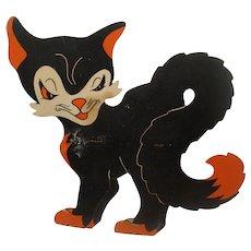 Vintage Halloween Die Cut Black Cat