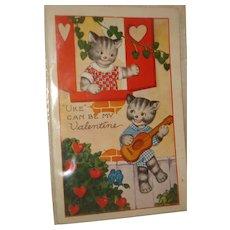 Kitty Cat Valentine's Postcard
