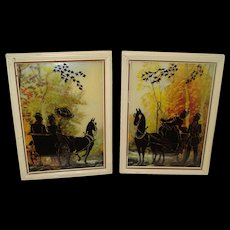 Pair of Vintage Silhouettes Horse & Buggy