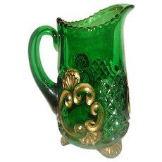 EAPG Riverside Glass Croesus Emerald Green Water Pitcher