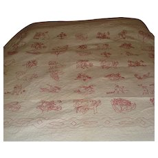 Child's Red Work Embroidery Coverlet / Quilt