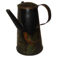 Early Tole Painted Tin Coffee Pot