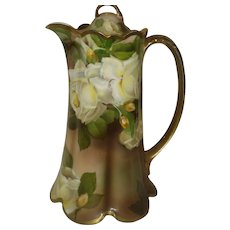 Signed Rosenthal Porcelain Coffeepot with Roses